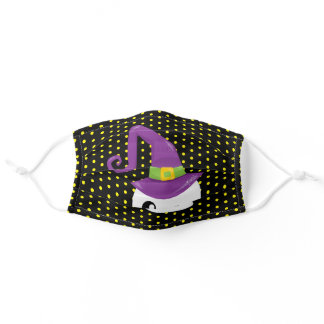 Ghost Wizard Yellow Black Polka Dot Pattern Adult Cloth Face Mask