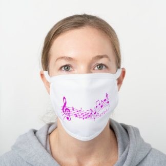 Gifts for Music Lovers, Pink Music Staff White Cotton Face Mask