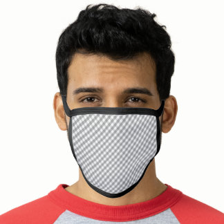 Gingham Plaid Gray And  White  Pattern Face Mask