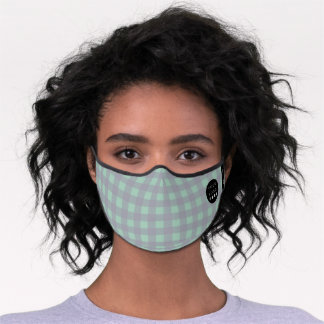 Gingham Plaid Min Gray Grey Logo Name Premium Face Mask