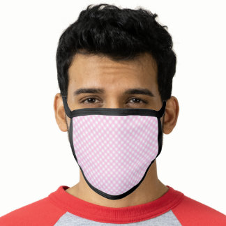 Gingham Plaid Pink And  White  Pattern Face Mask