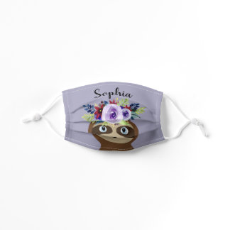 Girls Cute Purple Floral Watercolor Flower Sloth Kids' Cloth Face Mask
