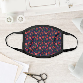 Girly Chic Red Poppies Black Floral Pattern Print Face Mask