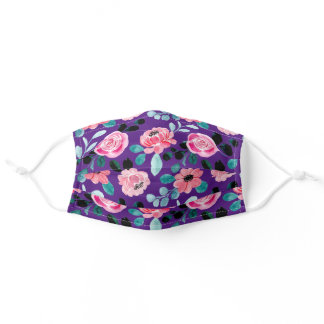 Girly Floral Purple, Pink Flowers & Leaves Wedding Adult Cloth Face Mask