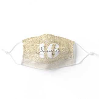 Girly Gold Glitter Name Sweet 16 Birthday  Adult Cloth Face Mask