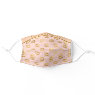 Girly Gold Lips Pattern On Pink, Add Your Own Text Adult Cloth Face Mask