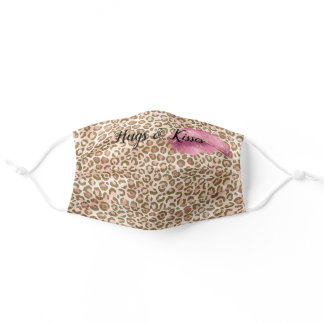 Girly Gold Peach Leopard Print Pink Lips Kiss Adult Cloth Face Mask