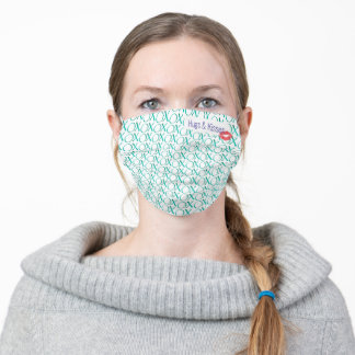 Girly Hugs and kisses XOXO green Pattern Adult Cloth Face Mask