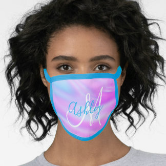 Girly Magenta and Aqua Abstract Ombre Monogram Face Mask