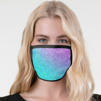 Girly mermaid purple glitter chic turquoise ombre face mask