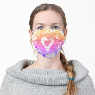 Girly Pastel Rainbow Hippy Heart with flowers Adult Cloth Face Mask