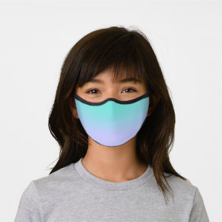 Girly Pastel Turquoise Periwinkle Ombre Premium Face Mask