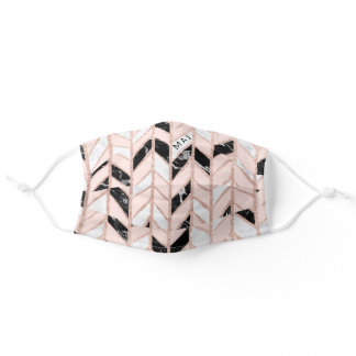Girly pink black white marble rose gold chevron adult cloth face mask