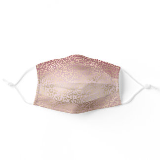 Girly Pink Blush Gold Ombre Leopard Print Adult Cloth Face Mask