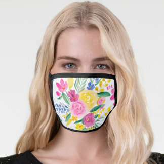 Girly pink bold floral watercolor monogram face mask