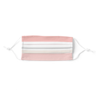 Girly Pink Cream Gray Stripes Adult Cloth Face Mask