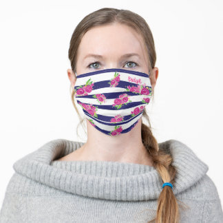 Girly Pink Floral Navy Stripe Pattern with Name Adult Cloth Face Mask