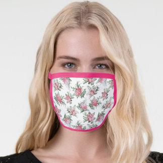 Girly Pink Flowers and Ferns Face Mask