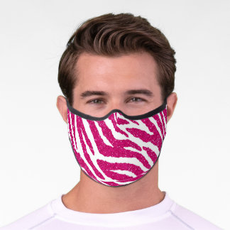 Girly Pink Fuchsia Glitter Zebra Animal Print Premium Face Mask