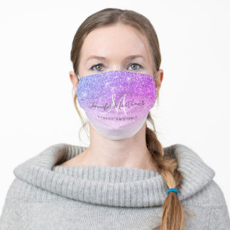 Girly Pink Purple Glitter Makeup Salon COVID Safe Adult Cloth Face Mask