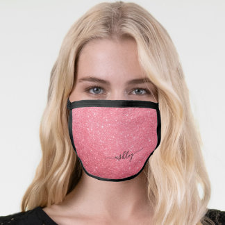 Girly Pink Sparkle Glitter Name Monogram Face Mask
