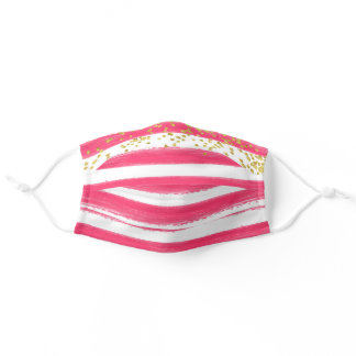 Girly Pink White Stripe Gold Glitter Adult Cloth Face Mask