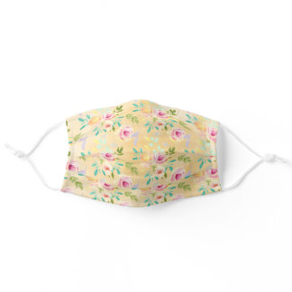 Girly Pink Yellow Floral Adult Cloth Face Mask