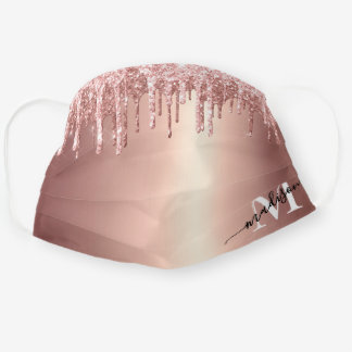 Girly Rose Gold Glitter Drip Foil Monogram Cloth Face Mask