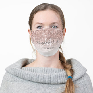 Girly Rose Gold Glitter Makeup Hair COVID Safe Adult Cloth Face Mask
