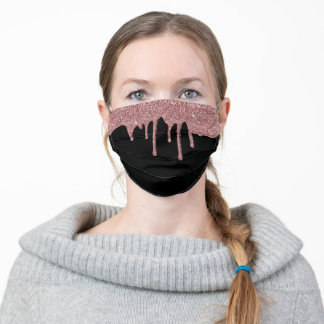 Girly Rose Gold Sparkle Dripping Glitter on Black Adult Cloth Face Mask