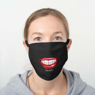 Girly Smiling Mouth Red Glitter Lips Monogram Black Cotton Face Mask