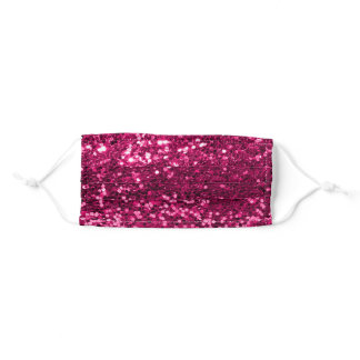 Girly Sparkly Pink Fuchsia  Faux Glitter Bling Adult Cloth Face Mask