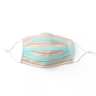 Girly Teal Gold Glitter Stripe Pattern Adult Cloth Face Mask