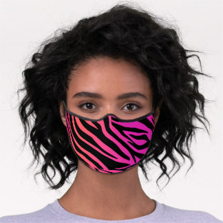 Girly Trendy Pink Fuchsia Zebra Animal Print Premium Face Mask