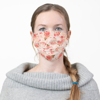 Girly Vintage Pink Red Roses Pattern Adult Cloth Face Mask