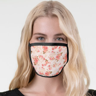 Girly Vintage Red Pink Roses Pattern Face Mask