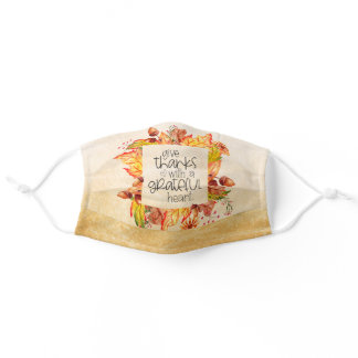 Give Thanks with a Grateful Heart Autumn Leaves Adult Cloth Face Mask
