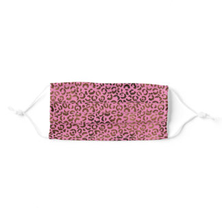 Glam Brown Pink Leopard Print Adult Cloth Face Mask
