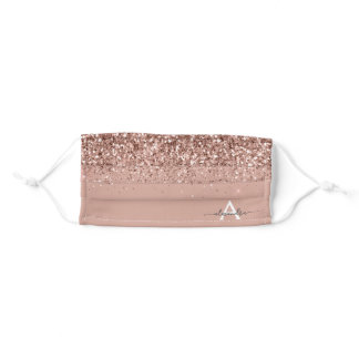 Glam Monogram Blush Pink Rose Gold Glitter Adult Cloth Face Mask