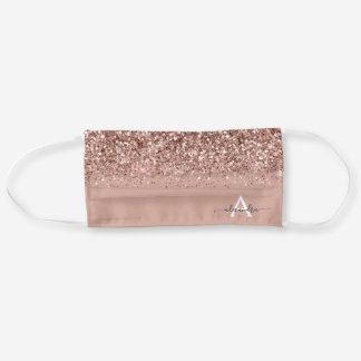 Glam Monogram Blush Pink Rose Gold Glitter Cloth Face Mask
