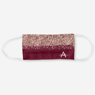 Glam Monogram Burgundy Pink Rose Gold Glitter Cloth Face Mask