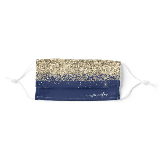 Glam Monogram Navy Blue Gold Glitter Adult Cloth Face Mask