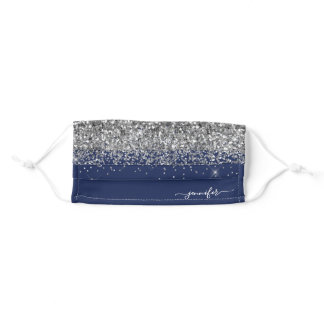 Glam Monogram Navy Blue Silver Glitter Adult Cloth Face Mask