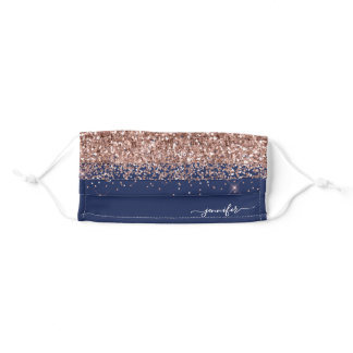 Glam Navy Blue Blush Pink Rose Gold Glitter Adult Cloth Face Mask