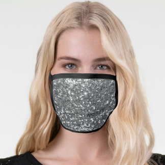 Glam Silver Shimmer Luxury Monogram Face Mask