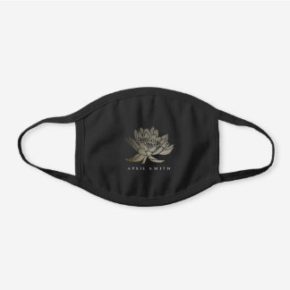 GLAMOROUS FAUX FOIL GOLD  LOTUS WATER LILY FLORAL BLACK COTTON FACE MASK