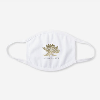 GLAMOROUS FAUX FOIL GOLD  LOTUS WATER LILY FLORAL WHITE COTTON FACE MASK