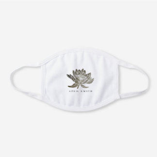 GLAMOROUS FAUX FOIL SILVER LOTUS WATER LILY FLORAL WHITE COTTON FACE MASK