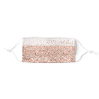 Glitter Blush Pink Rose Gold Mother of the Bride Adult Cloth Face Mask