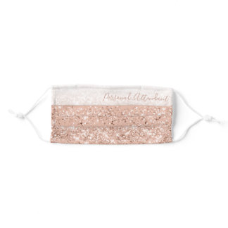 Glitter Blush Pink Rose Gold Personal Attendant Adult Cloth Face Mask